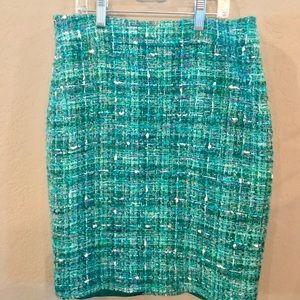 Kate Spade green/blue tweed skirt Size 4